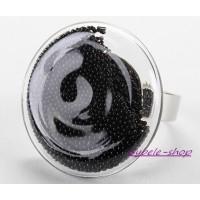 Bague ajustable en Bulle de verre & billes noires