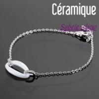 Bracelet Céramique Ovale  blanc